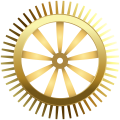 Gold mechanical wheel illustration