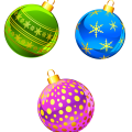 three assorted-color buables