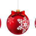 three red Christmas bauble illustrations