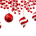 white and red baubles illustration