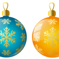 blue and orange Christmas Baubles