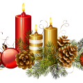 assorted-color candles and baubles