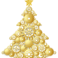 Gold Steampunk Christmas Tree free png