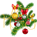 Christmas silver, gold, and red baubles illustration