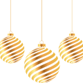3 brown Christmas baubles illustration