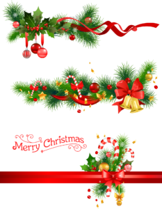 red and green ribbons illustration