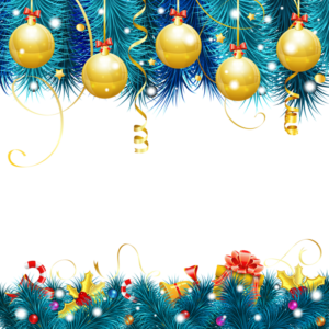 gold and blue Christmas-themed borders illustration