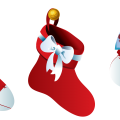 three red Christmas socks illustration
