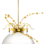 gray and gold Christmas bauble with bow accent