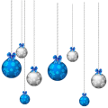Blue and White Hanging Christmas Balls