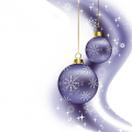 two purple Christmas baubles