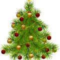 green christmas tree with red and yellow baubles