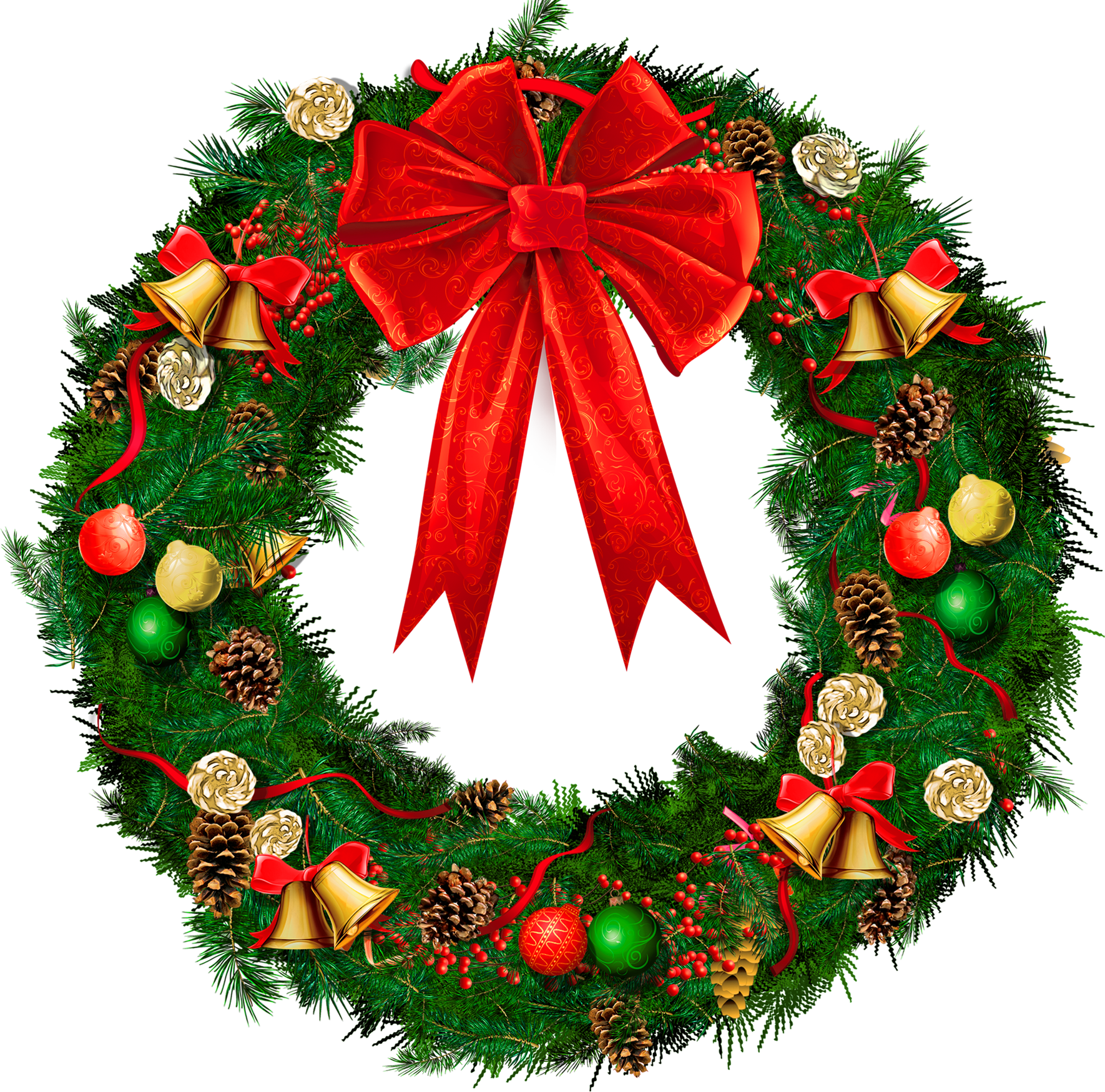 Christmas Wreath with Red Bow - Png Press - Transparent ...