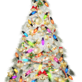 fully-decorated Christmas tree illustration