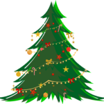 Large Green Christmas Tree with Ornaments
