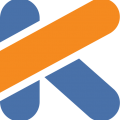 yellow and blue K logo